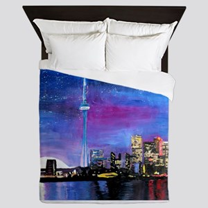 TorontoToronto Skyline at Night Queen Duvet