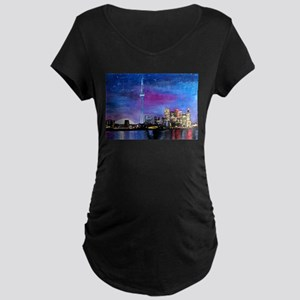 TorontoToronto Skyline at Night Maternity T-Shirt