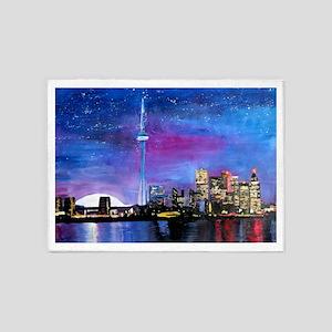 TorontoToronto Skyline at Night 5'x7'Area Rug