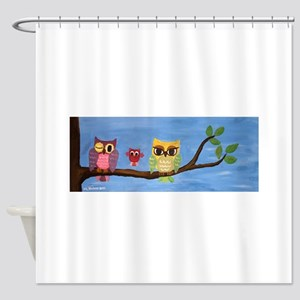 Owl Family On A Tree Shower Curtain