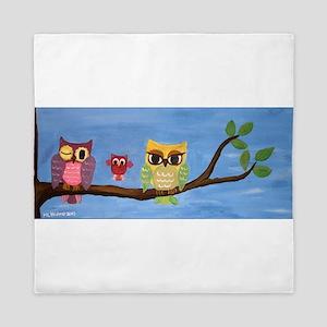 Owl Family On A Tree Queen Duvet