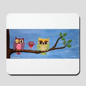 Owl Family On A Tree Mousepad