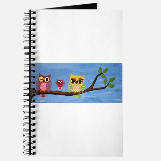 Owl Family On A Tree Journal