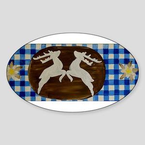 Oktoberfest - Deer With Gentian On Blue Wh Sticker