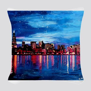 Chicago Skyline At Night Woven Throw Pillow