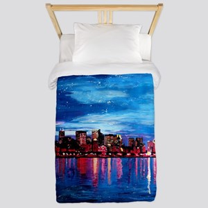 Chicago Skyline At Night Twin Duvet