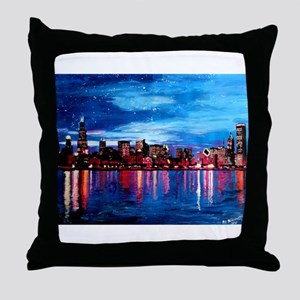 Chicago Skyline At Night Throw Pillow