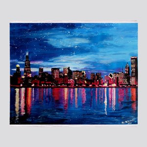 Chicago Skyline At Night Throw Blanket