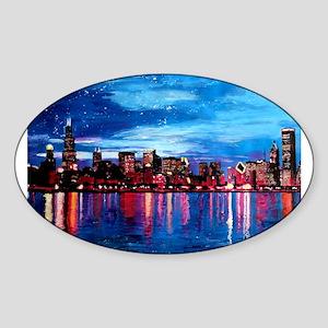Chicago Skyline At Night Sticker