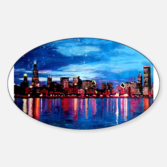 Chicago Skyline At Night Decal