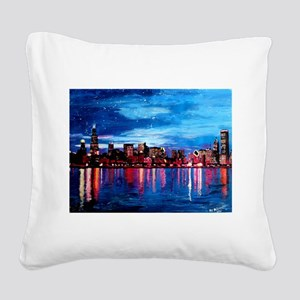 Chicago Skyline At Night Square Canvas Pillow