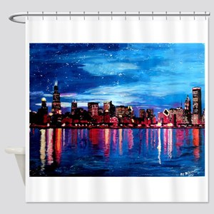 Chicago Skyline At Night Shower Curtain