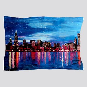 Chicago Skyline At Night Pillow Case