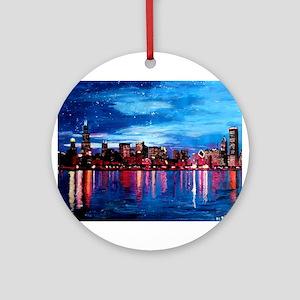 Chicago Skyline At Night Ornament (Round)