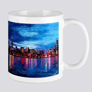 Chicago Skyline At Night Mugs