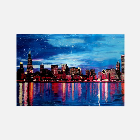 Chicago Skyline At Night Magnets