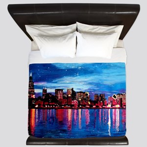 Chicago Skyline At Night King Duvet