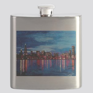 Chicago Skyline At Night Flask