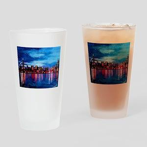 Chicago Skyline At Night Drinking Glass