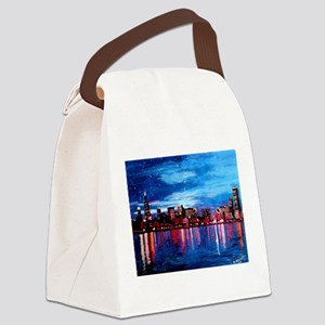 Chicago Skyline At Night Canvas Lunch Bag