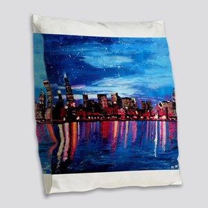 Chicago Skyline At Night Burlap Throw Pillow