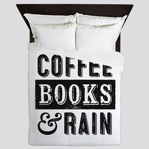 Coffee Books and Rain Queen Duvet