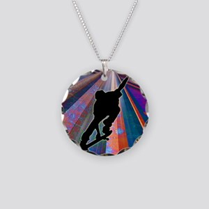 Skateboard on a Building Ray Necklace Circle Charm
