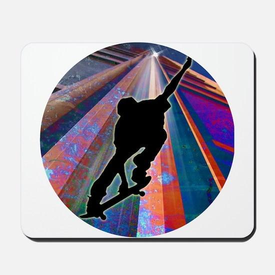 Skateboard on a Building Ray Mousepad