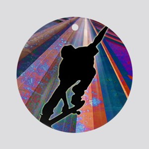 Skateboard on a Building Ray Ornament (Round)
