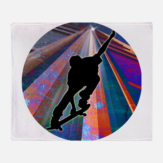 Skateboard on a Building Ray Throw Blanket
