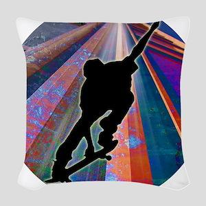 Skateboard on a Building Ray Woven Throw Pillow
