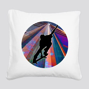 Skateboard on a Building Ray Square Canvas Pillow