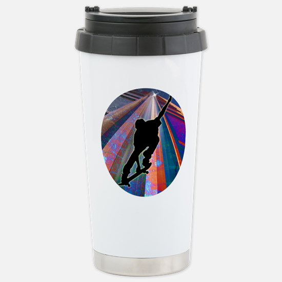 Skateboard on a Buildin Stainless Steel Travel Mug