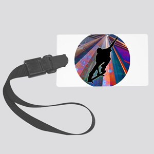 Skateboard on a Building Ray Large Luggage Tag