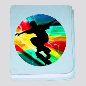 Skateboarder in Criss Cross Lightning baby blanket
