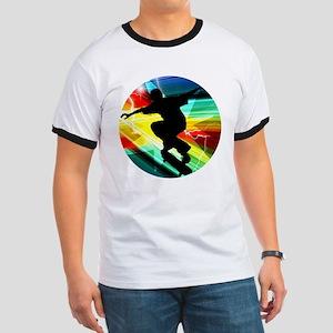 Skateboarder in Criss Cross Lightning T-Shirt