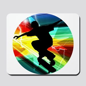 Skateboarder in Criss Cross Lightning Mousepad