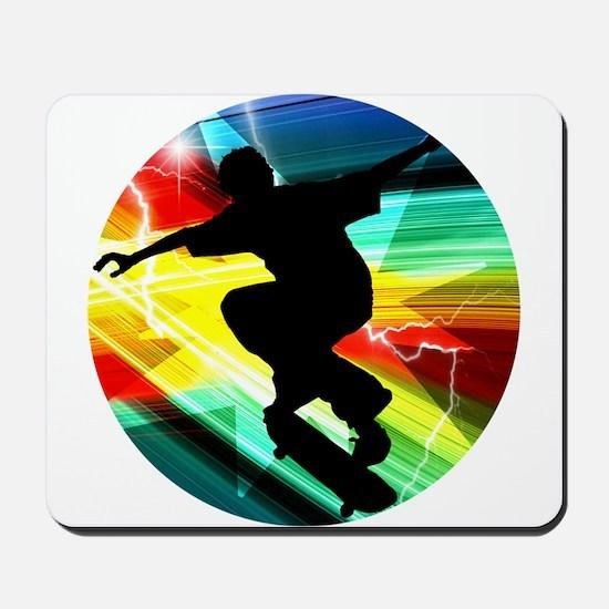 Skateboarder in Criss Cross Lightning Mousepad
