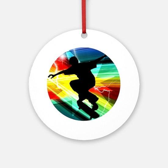 Skateboarder in Criss Cross Light Ornament (Round)