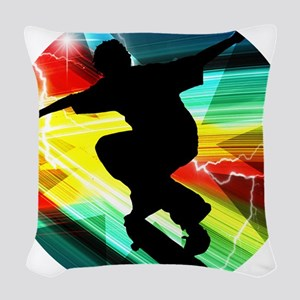Skateboarder in Criss Cross Li Woven Throw Pillow