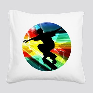 Skateboarder in Criss Cross L Square Canvas Pillow