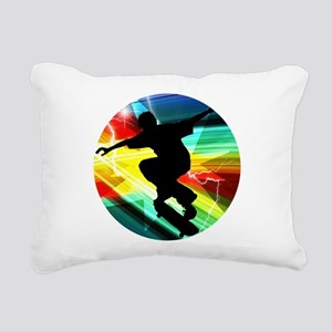 Skateboarder in Criss Cr Rectangular Canvas Pillow
