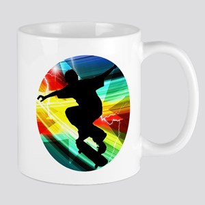 Skateboarder in Criss Cross Lightning Mugs