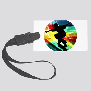 Skateboarder in Criss Cross Ligh Large Luggage Tag
