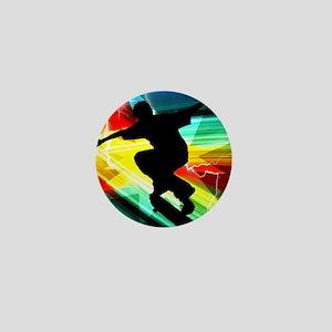 Skateboarder in Criss Cross Lightning Mini Button