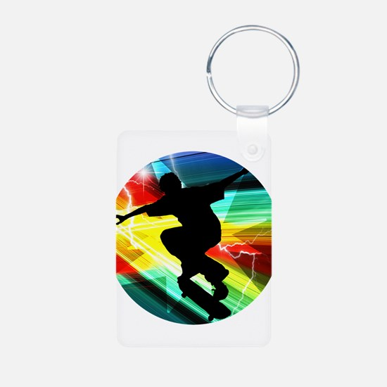 Skateboarder in Criss Cross Lightning Keychains