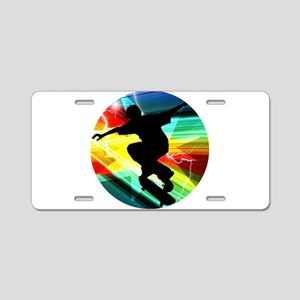 Skateboarder in Criss Cross Aluminum License Plate