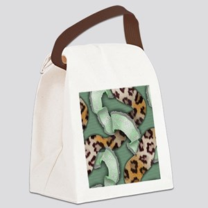 Leopards'n Lace - Green Canvas Lunch Bag