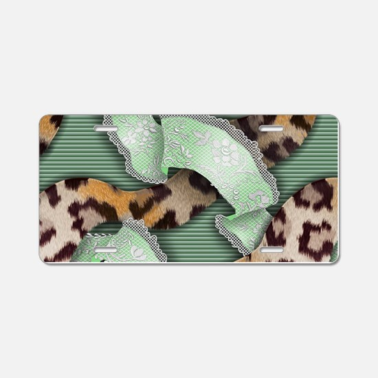 Leopards'n Lace - Green Aluminum License Plate