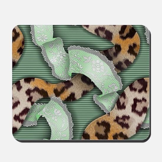 Leopards'n Lace - Green Mousepad